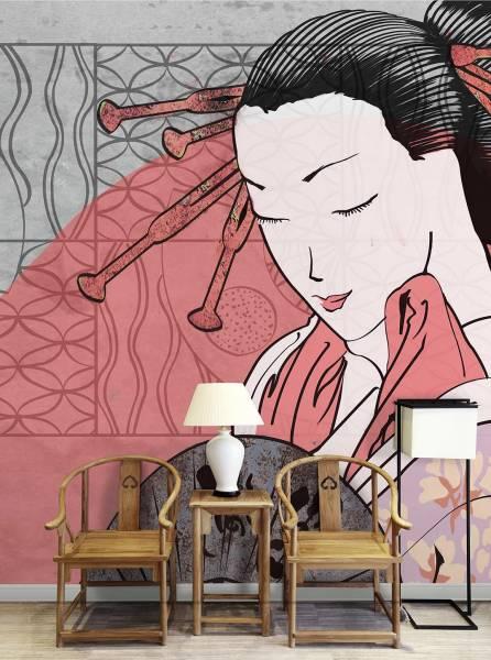 Geisha with a fan - wallpaper