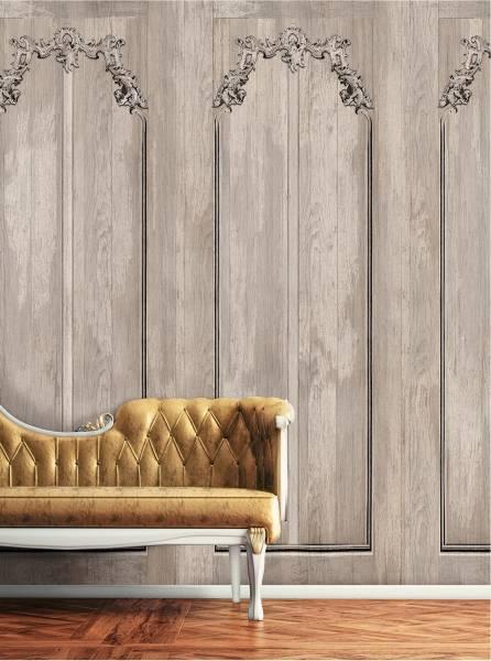 Scraped boiserie - wallpaper