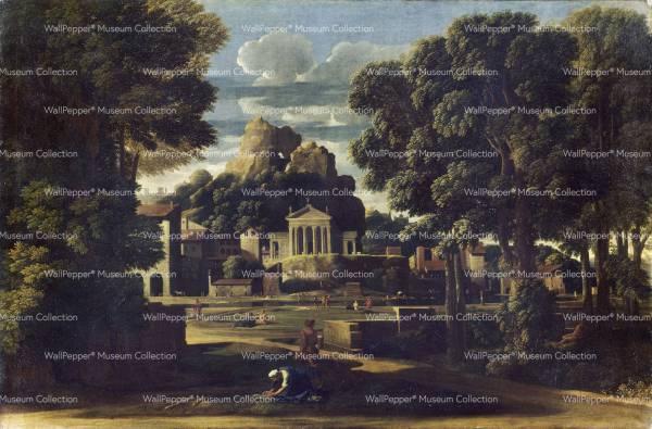 wallpaper - Paesaggio con la moglie di Focione che raccoglie le sue ceneri
