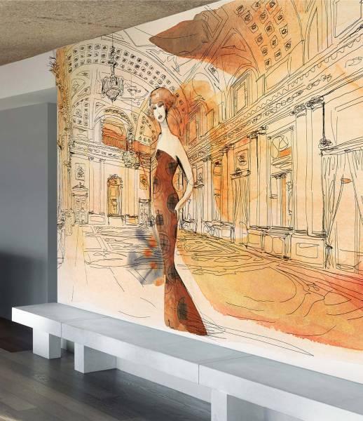 wallpaper - Palazzo Serbelloni - Interno e donna
