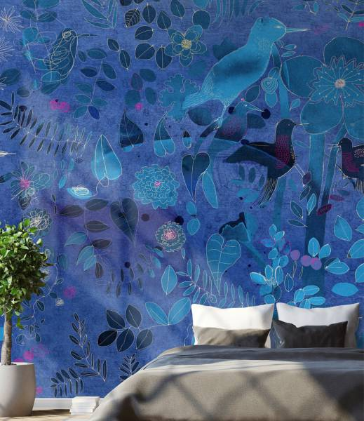 Watercolor and nature in blue- wallpaper