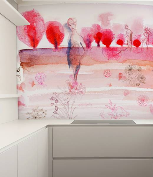 Watercolor and cherry blossom- wallpaper