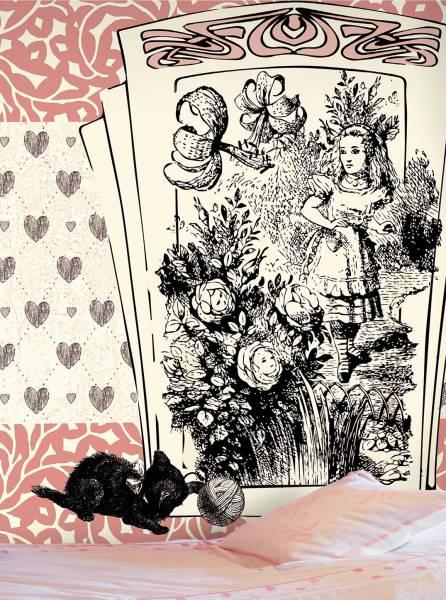 Alice and the black kitten - wallpaper