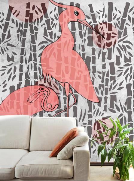Herons with bamboo - wallpaper