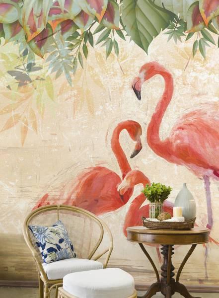 Flamingos party - wallpaper