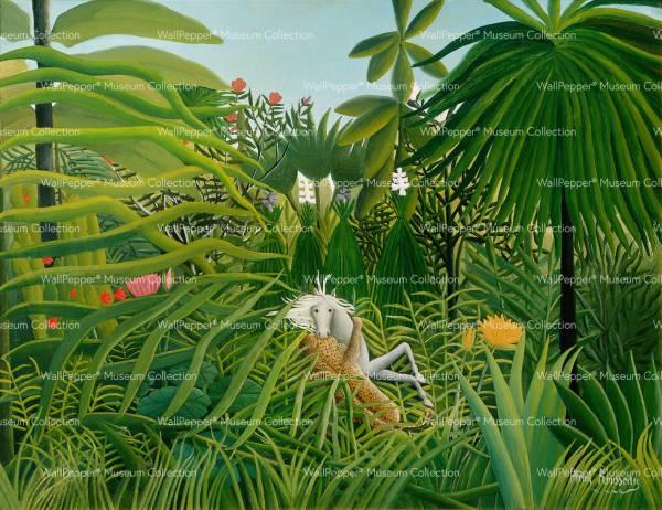 wallpaper - Giungla con cavallo assalito da un giaguaro