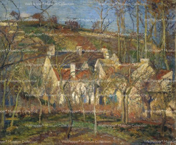 wallpaper - Les toits rouges, coin de village, effet d'hiver