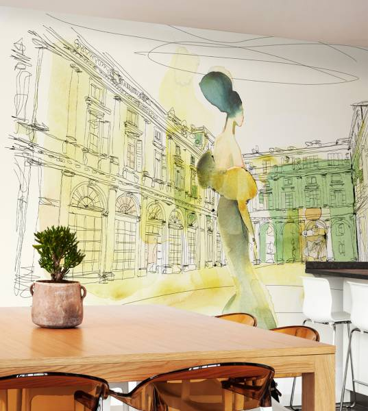 Watercolor and Palazzo Serbelloni, woman in style- wallpaper
