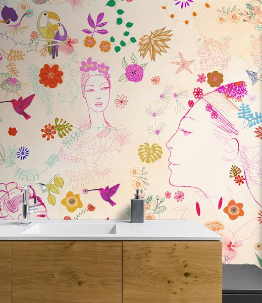 Watercolor, nature decor and fashion style- wallpaper